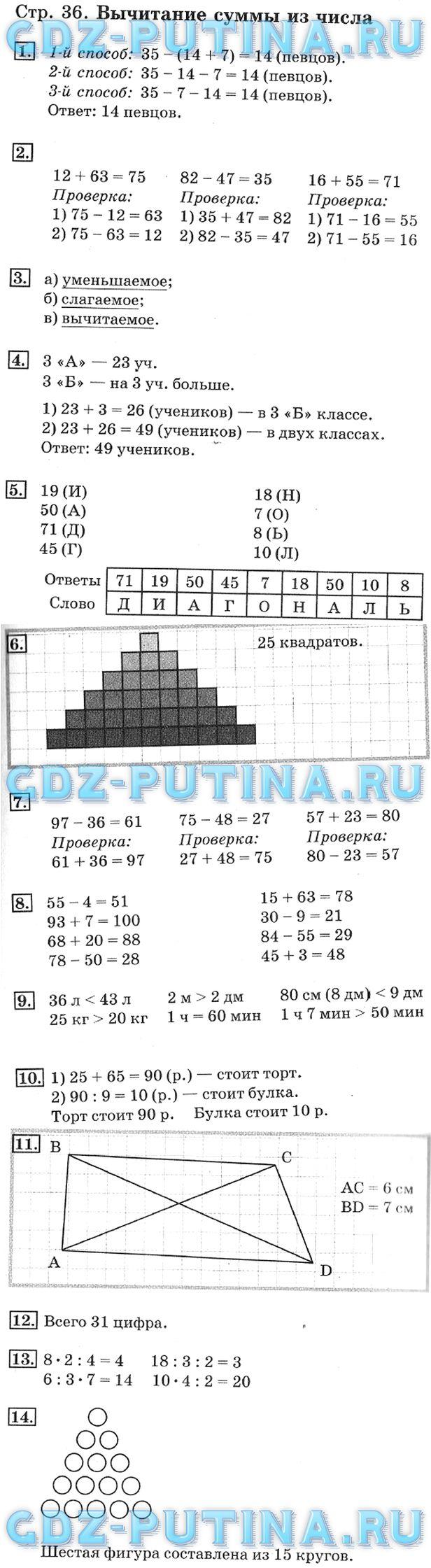 Гдз математика 2 класс рабочая тетрадь 1 часть ответы дорофеев решебник