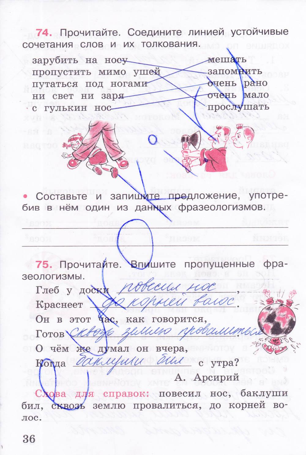 класса гдз 4 русский 2 тетрадь рабочая по часть язык