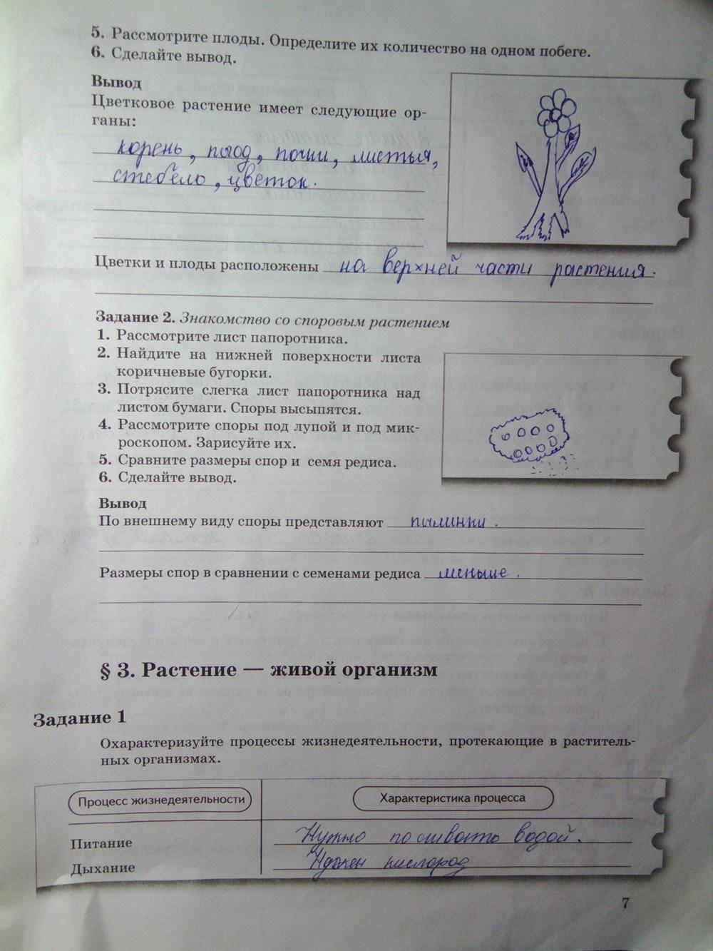 Пономарева ответы рабочая класс биология 6 гдз