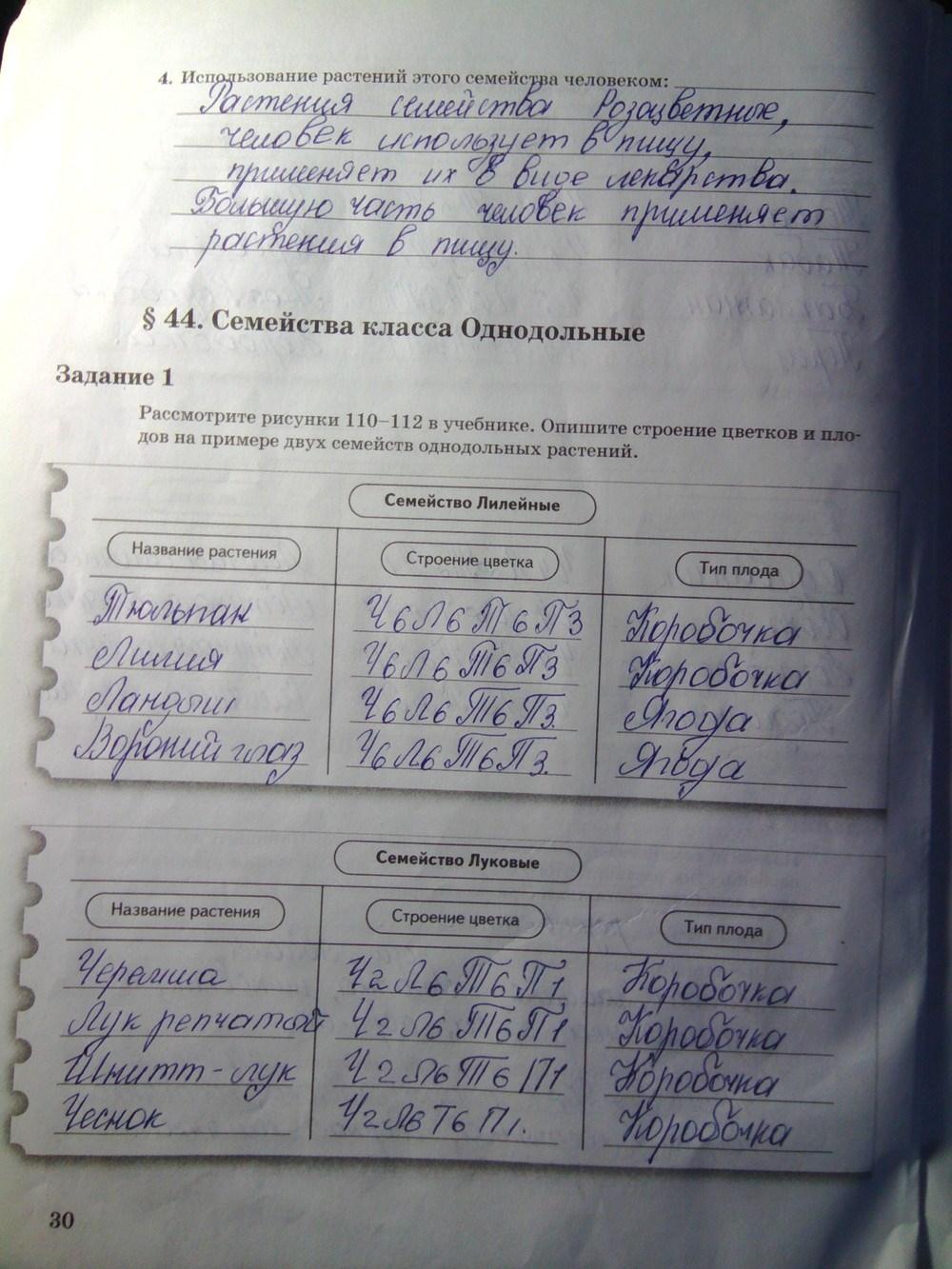 часть биологии 6 класс гдз тетрадь 2 по пономарева рабочий и.н