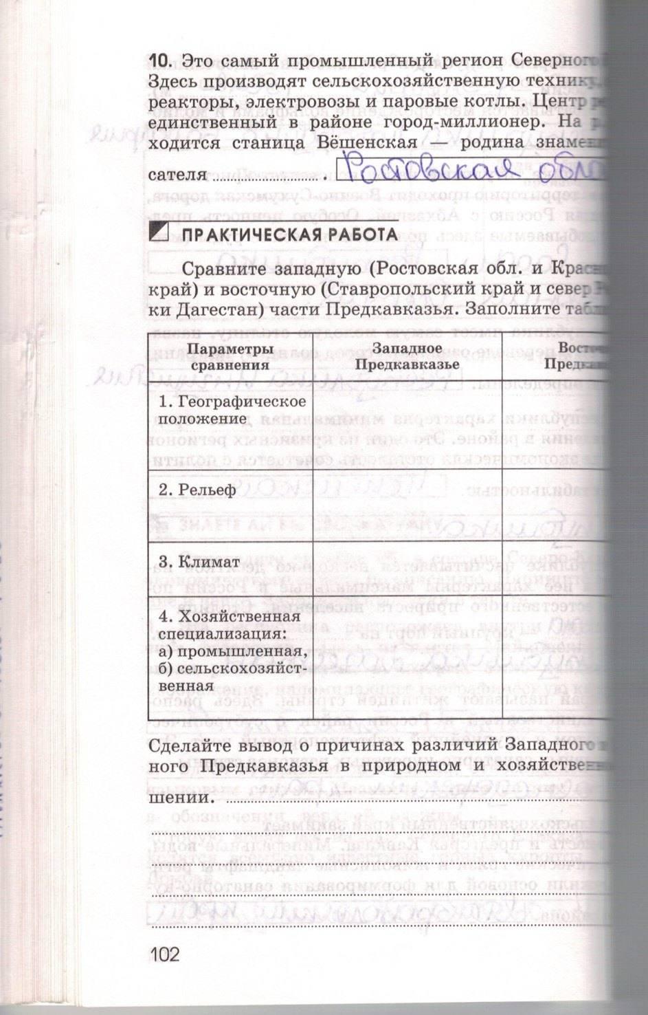 тетрадь рабочая по географии ответы решебник марченко класс 9